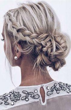 Summer Wedding Hairstyles, Braided Hairstyles For Wedding, Box Braids Hairstyles, Braided Updo, Hairstyle Ideas, Boho Hairstyles, Updos Hairstyle, Bun Braid, Bridesmaid Hairstyles
