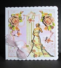 Card Gallery - Lace and Apricot Rose Beauty card front kit