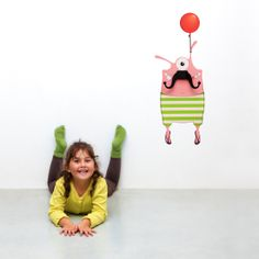 Lulu the pink, cheeky wall decal monster with a glorious mustache coat hanger! Coat Hanger, Wall Hanger, Hangers, Wall Stickers, Wall Decals, Kids Wall Decor, Baby Up, Make You Smile, Dinosaur Stuffed Animal