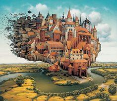 Polish artist Jacek Yerka creates surreal paintings of dream-like worlds. More info: yerkaland.com   facebook.com/Yerkaland