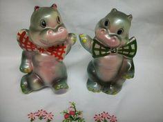 Vintage Hippopotamus for Christmas Salt Pepper Shakers Japan   eBay