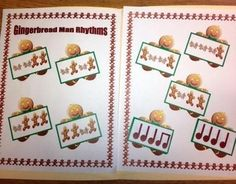 FREE on TpT - Gingerbread Man Rhythms - The Sweetest Melody - File folder game where students match notated rhythms with iconic representation. Piano Games, Music Games, Folder Games, File Folder, Elementary Music, Music Classroom, Teaching Music, Music Lessons, Music Education