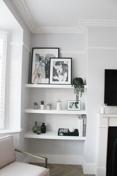 Home Interior Warm .Home Interior Warm Alcove Ideas Living Room, Living Room Shelves, Living Room Grey, Home Living Room, Living Room Designs, Living Room Decor, Alcove Decor, Living Room Inspiration, Home Decor Inspiration