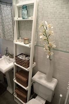 vertical space in an apartment is key! crate & barrel sloan 18 leaning bookcase The post vertical space in an apartment is key! crate & barrel sloan 18 leaning bookcase appeared first on Badezimmer ideen. Bathroom Storage Ladder, Bathroom Organization, Bathroom Ideas, Organization Ideas, Wall Storage, Storage Crates, Diy Storage, Storage Ideas For Bathroom, Bathroom Standing Shelf