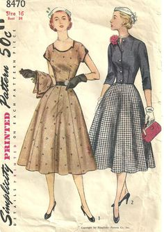 Simplicity 8470 Vintage 50s Sewing Pattern by studioGpatterns, $14.50