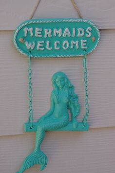 Beach Decor Cast Iron Mermaids Welcome Sign by beautifuldetailswed