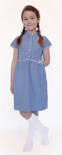 4c1cab944e8 Organic School Uniform - Blue Summer Gingham Checked Dress Blue Gingham