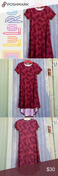 LuLaRoe Carly size XS Boom Box Radio Dress LuLaRoe Carly high - low dress in size xs (6) EUC worn and washed once. Super cute boom box / vintage radio pattern. True color is a pinot noir background with the radio's in a deep zinfandel 🍷 LuLaRoe Dresses High Low