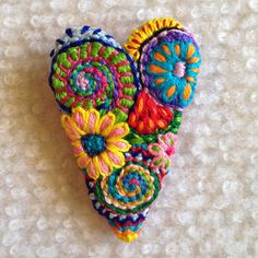 Freeform embroidery heart brooch  Brooch #107 by Lucismiles on Etsy