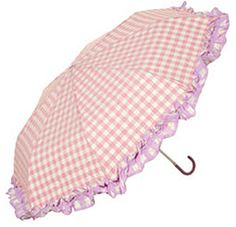Pink Gingham | Topshop Pale Pink Gingham Frill Crook Umbrella