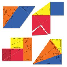 Students can use these triangles and rectangles to see how the trigonometric identities work.
