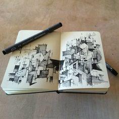 Sketch Book Looks like guanajuato. I need to sketch this summer =) Practice Practice Practice Sketchbook Architecture, Architect Sketchbook, Art Sketchbook, Architecture Quotes, Ancient Architecture, Drawing Sketches, Art Drawings, Zantangle Art, Illustration Arte
