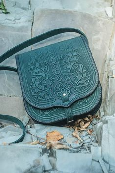 Green leather bag leather messenger bag tooled leather