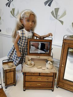 Vintage Trendon NP Sasha doll with antique Bleuette dolls bedroom furniture dressing table and original toile set for sale on another of my boards