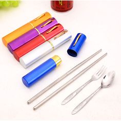 3 In 1 Stainless Steel Portable Travel Chopsticks Spoon Fork Pen Shape Cutlery Set