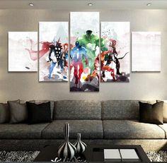 The Avengers Squad 5 Panel Canvas Wall Art Print