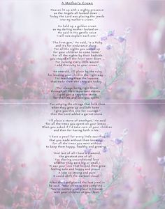 A Mother's Crown-Funeral Poem Memorial Quotes For Mom, Memorial Poems, Mum Poems, Funeral Poems, Miss You Mom, Mom And Dad, Mother Quotes, Mom Quotes, In Loving Memory Quotes