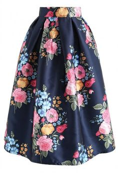 Compelling Bouquet Printed Midi Skirt in Navy - NEW ARRIVALS - Retro, Indie and Unique Fashion