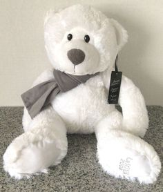"La Senza 2009 Nico NWT White Soft Plush 16"" New Stuffed Animal Grey Scarf HTF…"