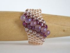 Beaded Peyote ring, in Flat Cellini peyote style, with seed beads, by MisakoBeads