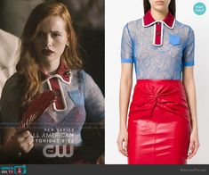 Floral Lace Polo Shirt worn by Cheryl Blossom (Madelaine Petsch) on Riverdale Cheryl Blossom Riverdale, Riverdale Cheryl, Riverdale Fashion, Character Inspired Outfits, Fashion Tv, Fashion Seasons, Blue Lace, Women's Fashion Dresses, Cute Outfits