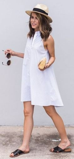 White Classic Shirt Dress Source