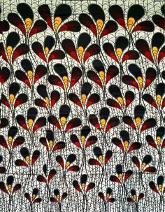 Print: Double-sided Material: 100% Cotton Width: 46 Texture: Not Waxed Main colors: White, Navy, Red, Marigold FABRIC CUT: Purchase of 1+ yards per customer will be cut as 1 continuous piece of fabric up to a maximum length of 6 yard. MANUFACTURERs LABELS: All African fabric is sold