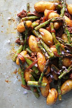 Smoky Potatoes with Asparagus and Chorizo by Heather Christo @Heather Christo