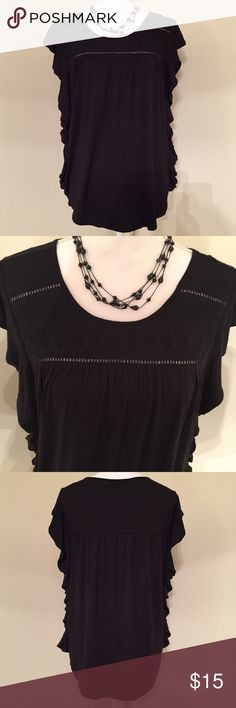 RXB Ruffled Side Cap Sleeve Black Top Size Medium RXB Ruffled Side Cap Sleeve Black Top Size Medium  * Brand: RXB (Macy's) * Size: Medium * Color: Black * Materials: 95% Rayon, 5% Spandex * Measurements taken laying flat & approximate: Chest 19.5 inches, Length 24 inches * Features: Cute ruffled sides, cap sleeve top, rounded hem, eyelet details on bust and shoulders, pleated back details * Condition: New with tags  *Smoke free home. Offers welcome.* RXB Tops