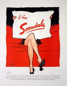 Affiche le bas Scandale - France - 1950 - illustration de René Gruau -