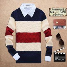 Men's Thick Round Neck Muti Colored Sweater