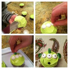 Toy Story Alien cupcakes for my 3 year old's birthday party