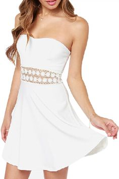 ROMWE | ROMWE Off Shoulder Lace Crochet White Dress, The Latest Street Fashion