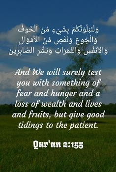 And We will surely test you with something of fear and hunger and a loss of wealth and lives and fruits, but give good tidings to the patient qur'an verse of quran ayah islam al baqarah 155 Quran Verses, Islam Quran, Islamic Quotes, Patience, True Love, Wealth, Wisdom, Peace, Words