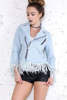 - Asymmetrical Zipper - Light Washed - Frayed Trim - Multi Zipper Detail - 100% Cotton - Hand Wash Cold - Do Not Bleach - Line Dry - Model is wearing a size SMALL - Model body measurements: Height 5'6