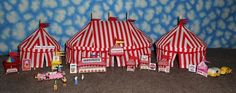 HO Scale Circus Big Top Tent Set - Red and White Stripe #Handmade