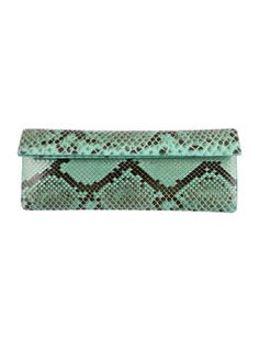 Turquoise and dark brown python Nancy Gonzalez clutch with suede interior, two interior pockets, three interior card slots and fold-over magnet flap closure. Includes dust bag. Shop Nancy Gonzalez designer bags online at The RealReal.