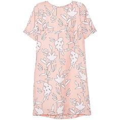 Marni Short sleeve dress (€570) ❤ liked on Polyvore featuring dresses, vestidos, tops, marni, rose, rose dress, rose print dress, pattern dress, crew neck dress and pink dress