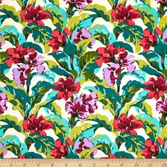 Amy Butler Bright Heart Tropi Canna Coral from @fabricdotcom  Designed by Amy Butler for Free Spirit, this cotton print is perfect for quilting, apparel and home decor accents. Colors include cream, teal, aqua blue, olive green coral, magenta and lilac.