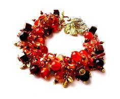 Light brown bracelet.Orange bracelet.Glass by Jewelry2Heart