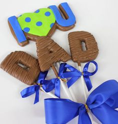 Christy's Gourmet Gifts, Burlington, ON | Father's Day Cookie Bouquet. 'I <3 U Dad' | #cookie #cookiebouquet