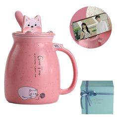 AmazonSmile: Cat Coffee Mugs for Cat Lovers Cat Mug Cute Mug with Phone Holder Lid Spoon Heated in Microwave 17 Oz Gift Box Package: Kitchen & Dining Best Coffee Mugs, Cat Coffee Mug, Cat Mug, Funny Coffee Mugs, Coffee Humor, Gift Mugs, Gifts In A Mug, Different Kinds Of Coffee, Mug Tree