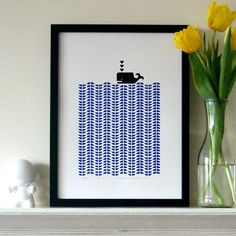 mengseldesign on Etsy Whale screen print, delft blue & black, edition of 45 (image) h9w7 (paper) h15w11