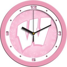 NCAA Wisconsin Badgers Pink Wall Clock