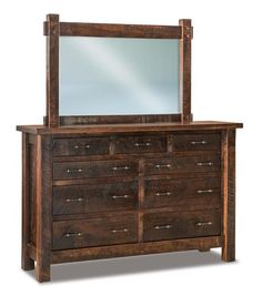 "Amish Rustic Houston 71"" Nine Drawer Dresser with Optional Mirror Rustic style dresser that's strong and durable. Amish made in Indiana. Choice of finish color and hardware. #amishfurniture #bedroomfurniture"