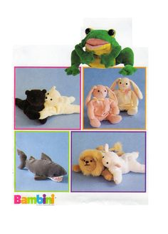 McCalls 9554, Joanne Beretta, Bambini, Bean Bag, Soft Stuffed, Toy, Animal, shark, frog, bunny rabbit, lion, polar bear, lamb, UNCUT by FindCraftyPatterns on Etsy