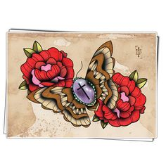 Moth. Tattoo print .  Neo Traditional style moth. various sizes.