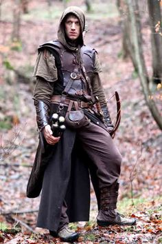 Soft leather kit, single cloak  - enforced bracers shortbow  shinpads to protect legs from weeds and nettles?