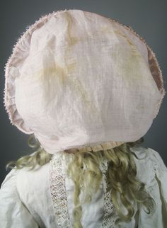 Wonderful Pink Ruffled Doll Bonnet with Flower Ribbon Trim from victoriasdollhouse on Ruby Lane