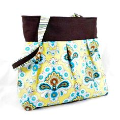 Amy Butler Purse Yellow and Brown French by SewMuchFabric2010